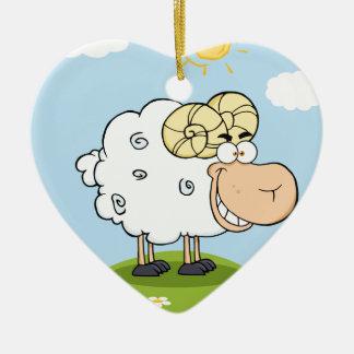 Mascota feliz del dibujo animado del espolón ornamento para arbol de navidad