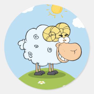 Mascota feliz del dibujo animado del espolón etiquetas