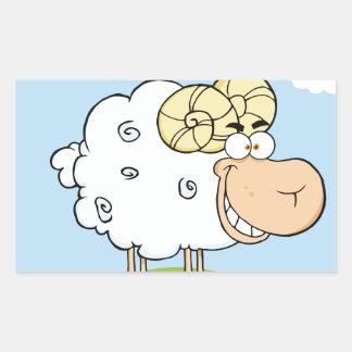 Mascota feliz del dibujo animado del espolón rectangular pegatina