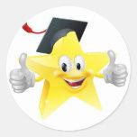 Mascota graduada de la estrella pegatinas redondas