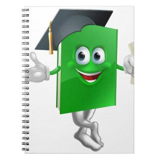 Mascota graduada del libro de la educación libro de apuntes