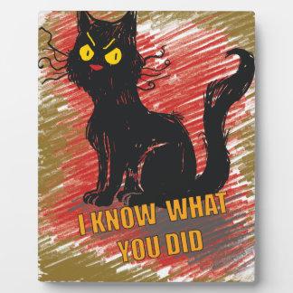 Mascota gruñón del maullido enojado del gato negro placas con foto