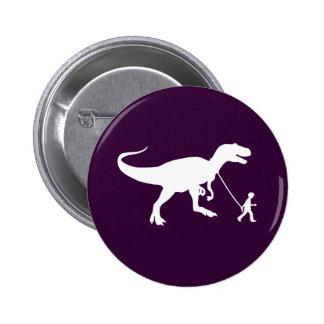 Mascota lindo de T-rex Pin Redondo De 2 Pulgadas