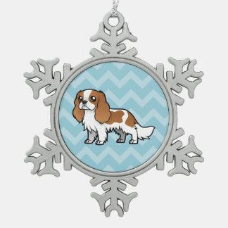 Mascota lindo del dibujo animado adorno de peltre en forma de copo de nieve