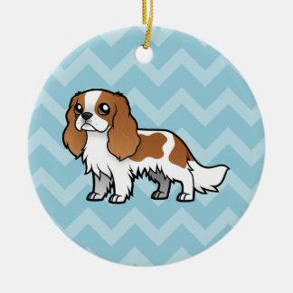 Mascota lindo del dibujo animado adorno navideño redondo de cerámica