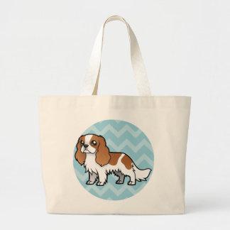 Mascota lindo del dibujo animado bolsa tela grande