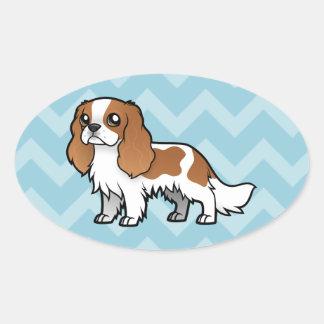 Mascota lindo del dibujo animado colcomanias ovaladas personalizadas