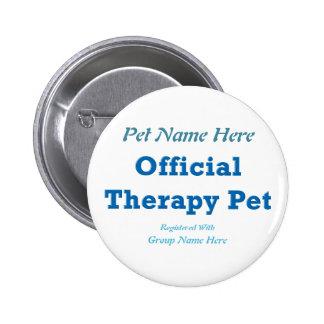Mascota oficial de la terapia pin redondo de 2 pulgadas