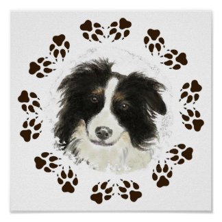 Mascota original del perro del border collie de la impresiones