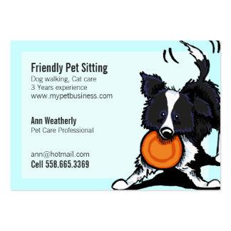 Mascota que sienta brillante amistoso del border c tarjetas de visita grandes