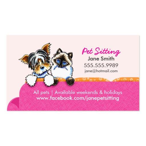 Mascota que sienta Yorkie con rosa del sofá del Tarjetas De Visita
