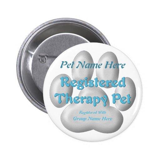Mascota registrado de la terapia pins