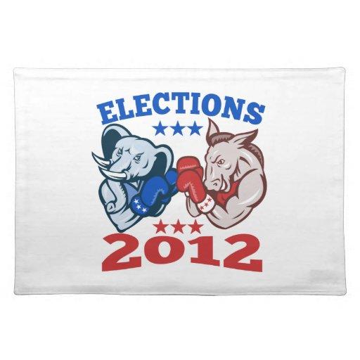 Mascota republicana 2012 del elefante del burro de mantel individual