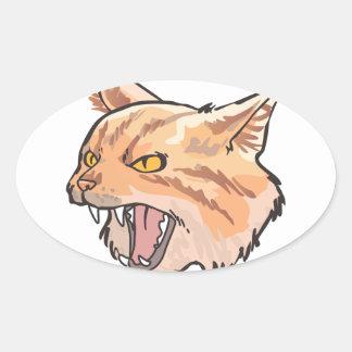 Mascota salvaje pegatina ovalada
