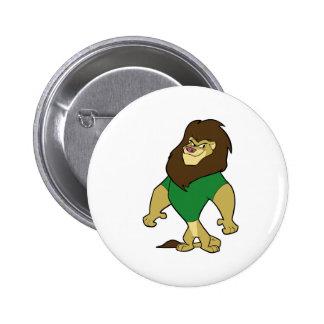 Mascota - verde del león pin redondo de 2 pulgadas