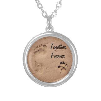 Mascota y huella en la arena collar plateado