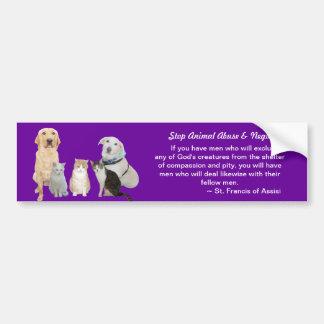 Mascotas adaptables y cita de St Francis Pegatina De Parachoque