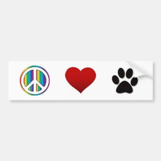 Mascotas del amor de la paz pegatina de parachoque