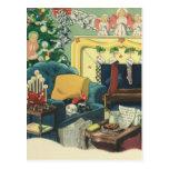 Mascotas del navidad del vintage postal