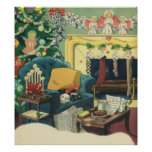 Mascotas del navidad del vintage posters