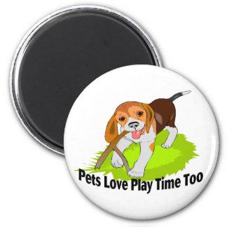 Mascotas del tiempo del juego imán redondo 5 cm