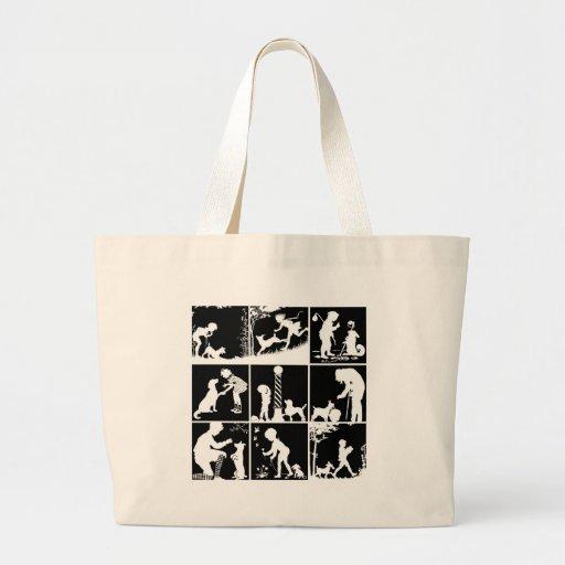 mascotas del vintage 12e en silueta bolsa lienzo