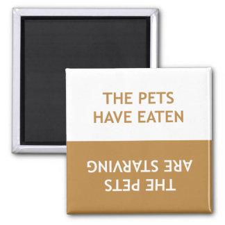 Mascotas hambrientos imanes para frigoríficos