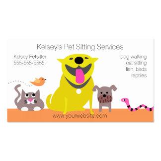 Mascotas - serpiente del pájaro del gato del perro tarjetas de visita