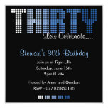 Masculine 30th THIRTY Birthday Party Invitation 13 Cm X 13 Cm Square Invitation Card