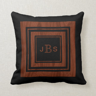 Masculine 3 Monogram | Rustic Wood Mahogany Black Throw Pillow