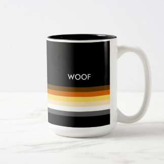 Masculine and Sleek Gay Bear Pride Flag woof Two-Tone Coffee Mug