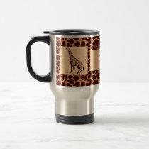 Masculine and Wild Giraffe with Name Travel Mug