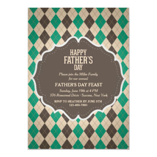 Masculine Argyle Father's Day Invitation