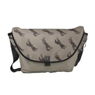 Masculine Black and Tan Classic Equestrian Horses Messenger Bag