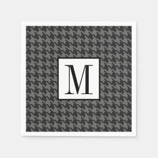 Masculine Black Gray Houndstooth Optional Monogram Paper Napkin