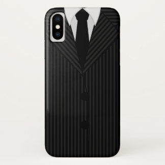 Masculine Black Pinstripe Suit and Tie Classy Slim iPhone X Case