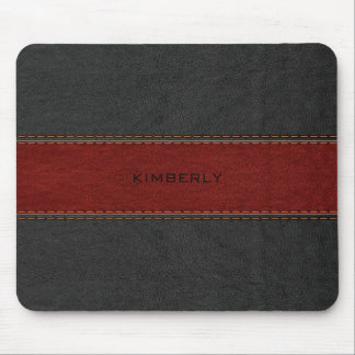 Masculine Black & Red Leather Mouse Pad