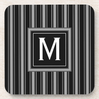 Masculine Black, White and Grey Stripes & Monogram Beverage Coaster