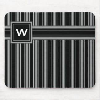 Masculine Black, White and Grey Stripes & Monogram Mouse Pad