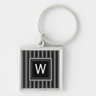 Masculine Black, White and Grey Stripes & Monogram Silver-Colored Square Keychain
