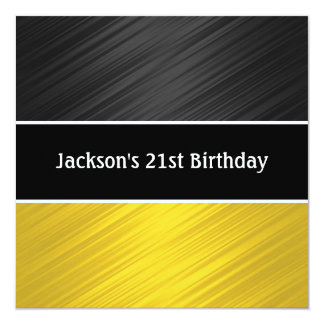 Masculine Black Yellow Stripes Party Card