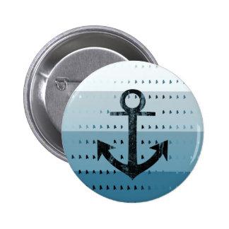 Masculine Blue Anchor Nautical Pattern Design Button