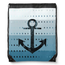 Masculine Blue Anchor Nautical Pattern Design Drawstring Backpack