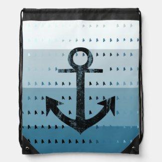 Masculine Blue Anchor Nautical Pattern Design Drawstring Bag