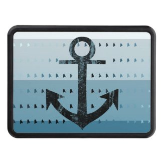 Masculine Blue Anchor Nautical Pattern Design Tow Hitch Covers