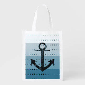 Masculine Blue Anchor Nautical Pattern Design Reusable Grocery Bag