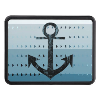 Masculine Blue Anchor Nautical Pattern Design Tow Hitch Cover