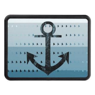 Masculine Blue Anchor Nautical Pattern Design Trailer Hitch Cover