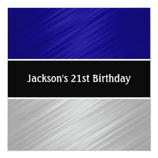 Masculine Blue Silver Stripes Party Card