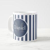Masculine Blue Striped Personalized Monogrammed Jumbo Mugs